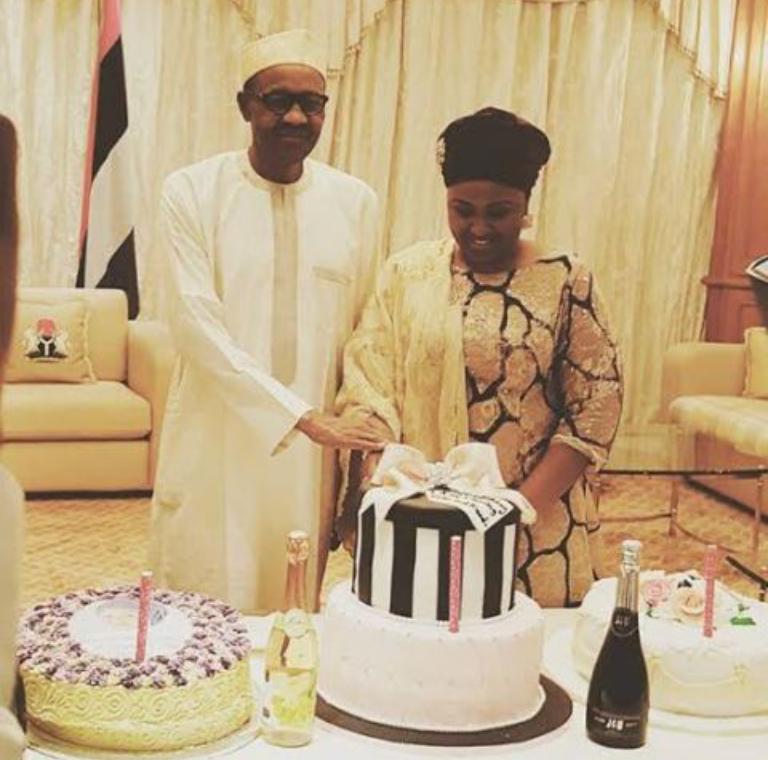 Photos: Aisha Buhari Cuts Her Birthday Cake With President